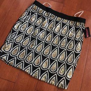 Black and gold sequin mini skirt
